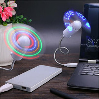 WG-MF03  Wholesale Gift Flexible Stand USB Mini LED Flash Words Fan with LED Light Cool Gadget